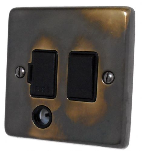 G&H CAN56B Standard Plate Polished Aged Brass 1 Gang Fused Spur 13A Switched & Flex Outlet